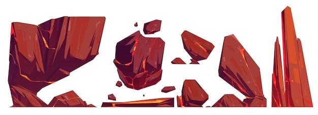 Rotsen en stenen met gloeiende lava in scheuren