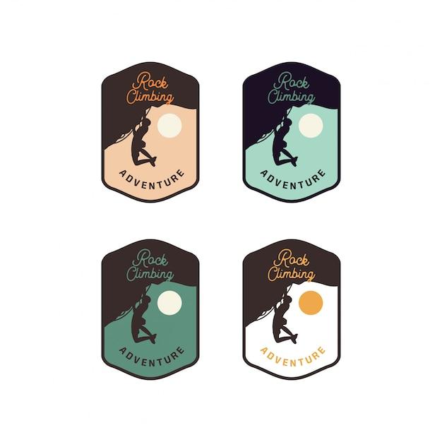 Rotsklimavontuurpleister, insigne, embleemteken logo ontwerpteam in vintage retro stijl