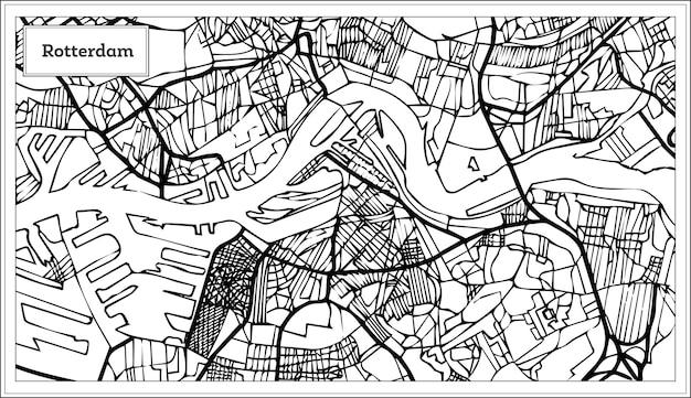 Rotterdam kaart in zwart-wit kleur. hand getekend. vectorillustratie.