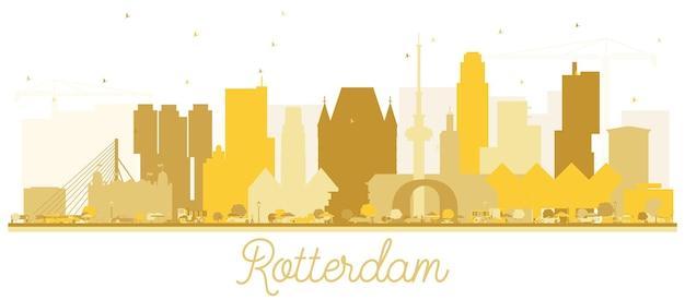Rotterdam nederland skyline gouden silhouet. vector illustratie. zakelijk reisconcept. rotterdams stadsgezicht met bezienswaardigheden.