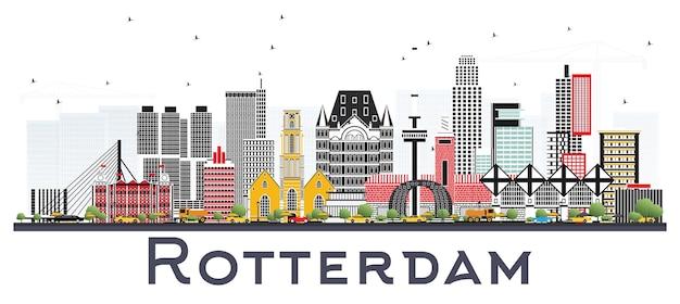 Rotterdam nederland skyline met grijze gebouwen geïsoleerd op een witte achtergrond. vectorillustratie. zakelijk reizen en toerisme concept met moderne architectuur.
