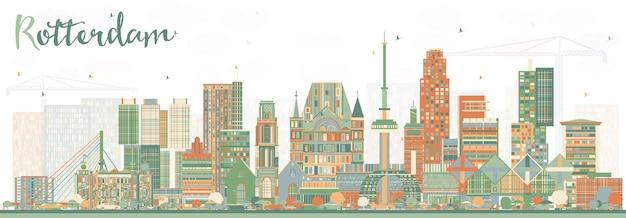 Rotterdam nederland skyline met kleur gebouwen. vectorillustratie. zakelijk reizen en toerisme concept met moderne architectuur.