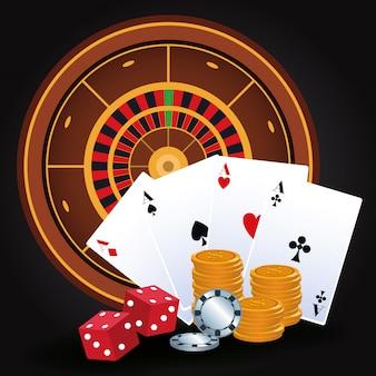 Roulette dobbelt geld chips kaarten gokspel gokken casino