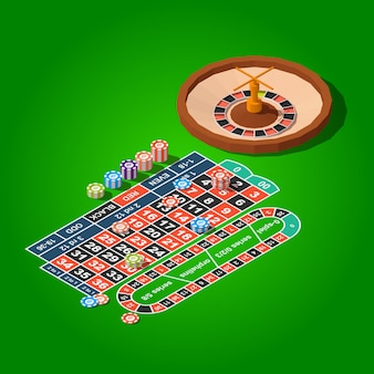 Roulettetafel en chips