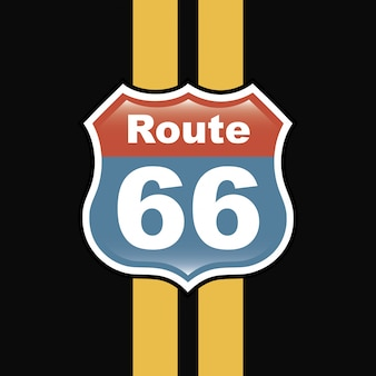 Route 66 label over zwarte achtergrond vectorillustratie