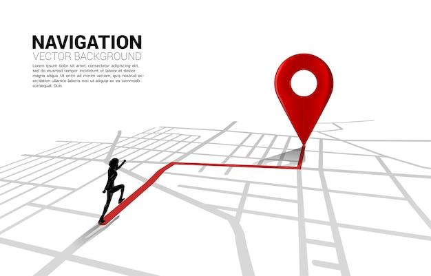 Route tussen 3d-locatiemarkeringen en zakenman op stadsplattegrond. concept voor gps-navigatie.