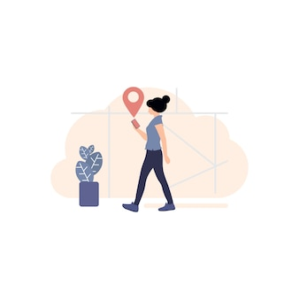 Routebeschrijving op mobiel pictogram, gps-tracker-pictogram, pin-pictogram illustratie, kaart op mobiel, locator-kaart, advies,, richten, wijzen