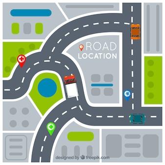 Routekaart met wijzers in vlakke stijl