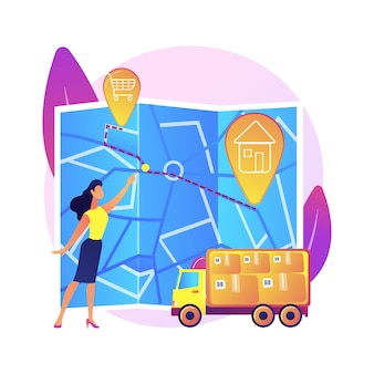 Routekeuze, routekeuze, vertrek- en bestemmingspunten. richting krijgen, gids, navigator-applicatie. vrouw met stadsplattegrond stripfiguur.