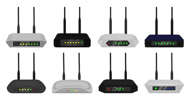 Router cartoon ingesteld pictogram. illustratie modem op witte achtergrond. cartoon instellen pictogram router.