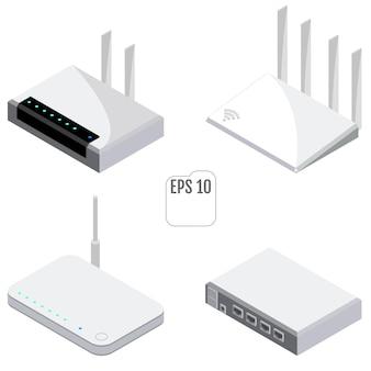Router isometrische pictogrammen instellen. set wifi-router voor webdesign. geïsoleerd