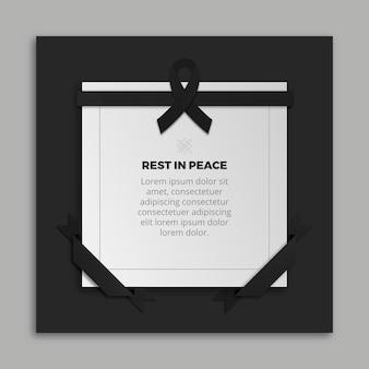 Rouw lint met frame en bericht