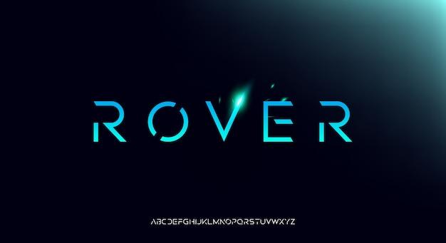 Rover, een futuristisch alfabetlettertype met abstracte technologie. digitale ruimtetypografie