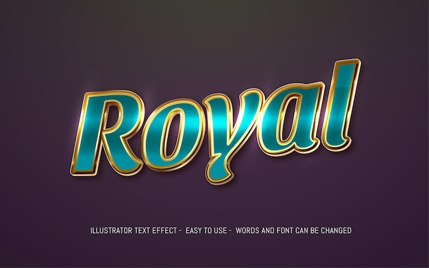 Royal 3d tekst bewerkbare stijl effect sjabloon