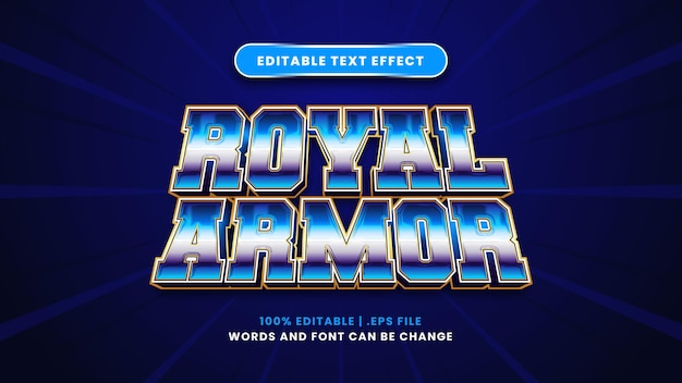 Royal armor bewerkbaar teksteffect in moderne 3d-stijl