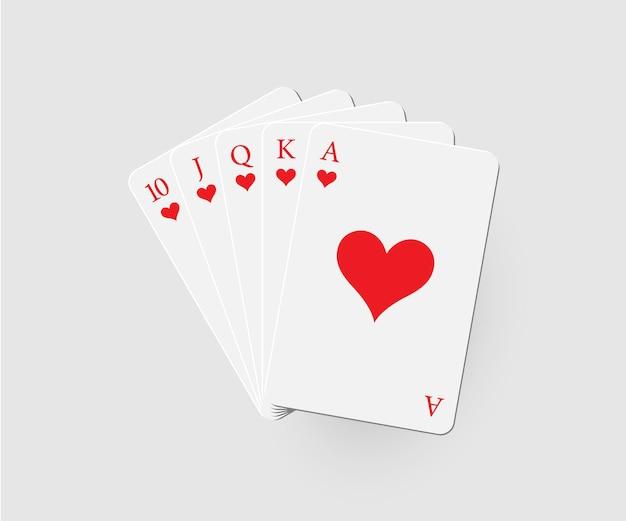 Royal flush van harten pokercombinatie geïsoleerd op een grijze achtergrond