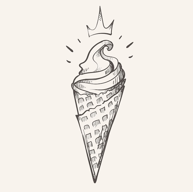 Royal ice cream cone ijscoupe schets