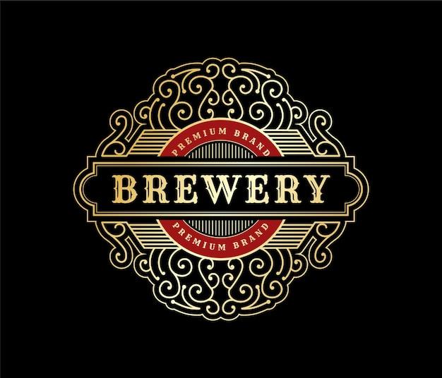 Royal luxe vintage logo-badge voor handgemaakte bierbrouwerij whisky- en alcoholdrankmerken