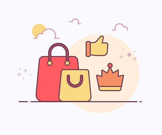 Royal product concept vrouwelijke tas rond kroon hand met zachte kleur ononderbroken lijn stijl vector ontwerp illustratie