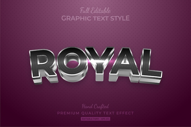 Royal silver bewerkbare custom text style effect premium