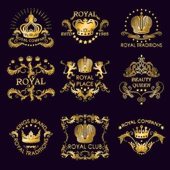 Royal traditions golden logos Gratis Vector