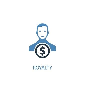 Royalty-concept 2 gekleurd pictogram. eenvoudige blauwe elementenillustratie. royalty concept symbool ontwerp. kan worden gebruikt voor web- en mobiele ui/ux