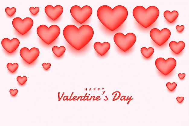 Roze 3d harten gelukkige valentijnsdag wenskaart