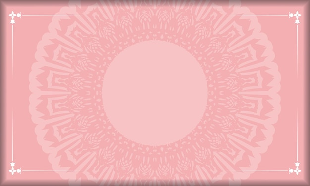 Roze achtergrond met antieke witte ornamenten en ruimte voor uw tekst