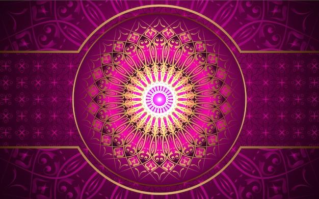 Roze achtergrond met gouden mandala-decoratie
