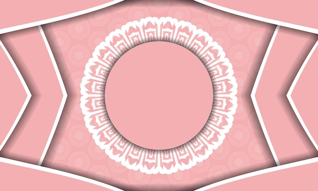 Roze achtergrond met indiase witte ornamenten voor ontwerp onder uw tekst