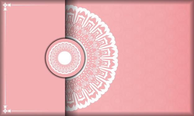 Roze achtergrond met luxe witte ornamenten en ruimte voor uw tekst