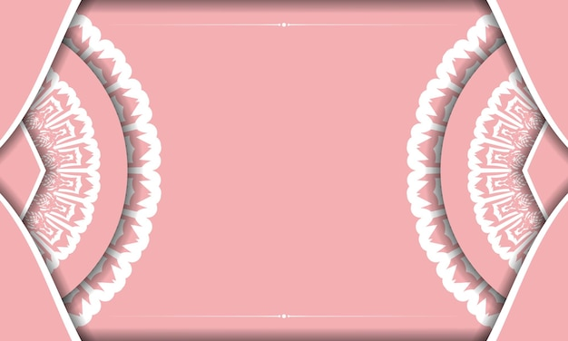 Roze achtergrond met vintage wit patroon en ruimte voor tekst