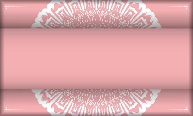 Roze achtergrond met vintage wit patroon voor ontwerp onder uw tekst