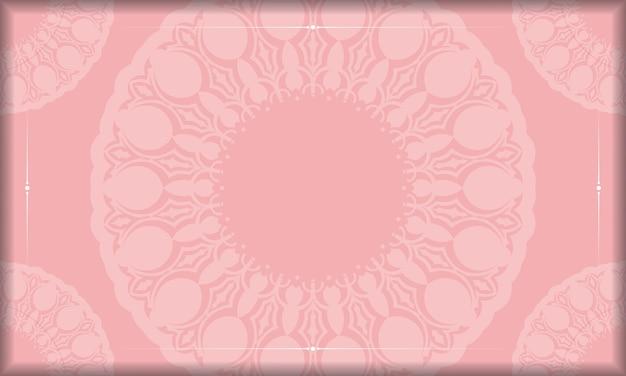 Roze achtergrond met vintage witte ornamenten en logoruimte