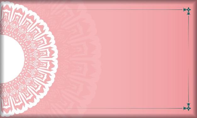 Roze achtergrond met vintage witte ornamenten en ruimte voor uw tekst