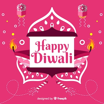 Roze achtergrond van platte diwali-evenement
