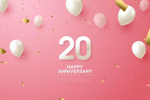 Roze achtergrond voor de 20e verjaardag met cijfers en witte ballonnen