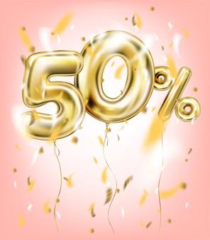 Roze afbeelding van gouden ballon vijftig procent