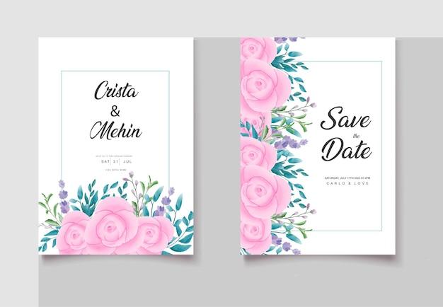 Roze aquarel bloemen bruiloft uitnodigingskaarten set