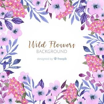 Roze aquarel bloemen frame achtergrond