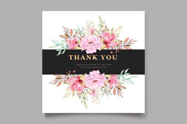 Roze aquarel bloemen kaart