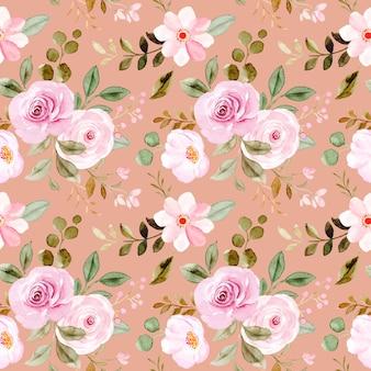 Roze aquarel bloemen naadloos patroon