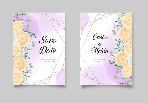 Roze aquarel bruiloft uitnodigingskaarten set