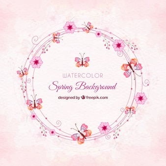 Roze aquarel lente achtergrond