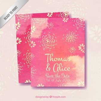 Roze aquarel met bloemen trouwkaart