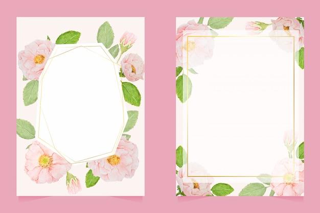 Roze aquarel rozen bruiloft uitnodiging kaartsjabloon lay-out 5 x 7 collectie