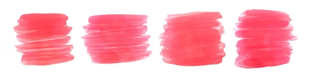 Roze aquarel verf penseelstreek set van vier