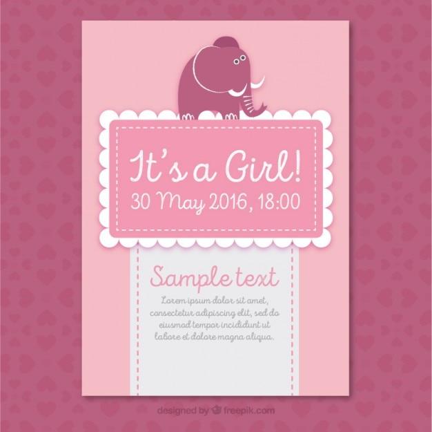 Roze baby shower kaart met een leuke olifant
