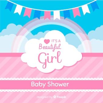 Roze babydouchemalplaatje voor meisje