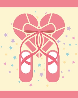 Roze ballet pointe schoenen diamant vorm hart